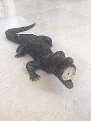 Maitland Smith Cast Brass Crocodile Verdigris Finished Table Top Clock or Desk