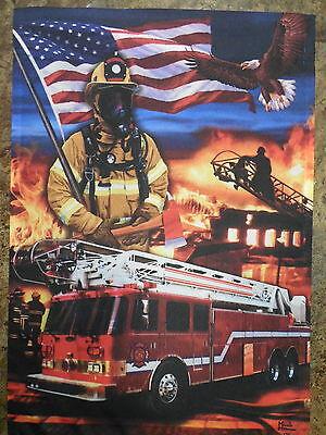 Patriotic Fire Fighter & Rescue, Truck, American flag decorative Garden flag