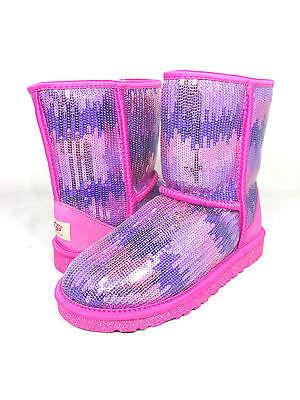 KIDS WOMEN UGG AUSTRALIA BOOT CLASSIC SHORT SPARKLE WAVE PRINCESS PINK 1006434