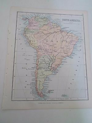 Antique Map 1890 - SOUTH AMERICA -  From Philips Atlas For Beginners  §29