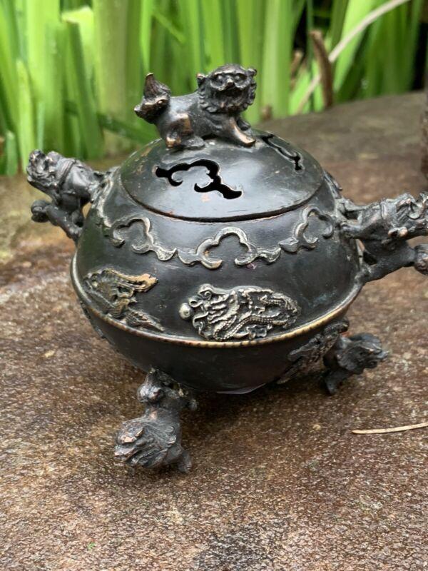 ANTIQUE ASIAN BRONZE  FOO DOG  incense burner footed