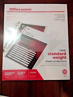 Office Depot Standard Weight Sheet Protectors 8 12 X 11 Clear 100-pack