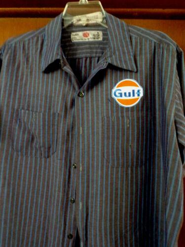 """GULF GASOLINE "" MECHANIC-SHOP SHORT SLEEVE WORK SHIRT  USED/RECYCLED"
