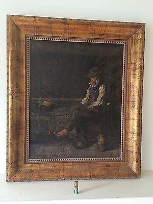 Antique Oil Painting On Canvas Old Man Gilt Wood Frame Dutch School Signed
