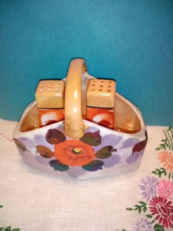 Floral Vintage Salt And Pepper Shakers And Basket Made In Japan Three Pieces
