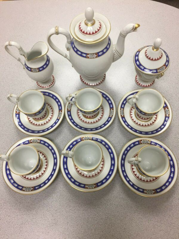 HOCHST ANNO 1790 GERMAN PORCELAIN 16 pc Coffee Mocha Service
