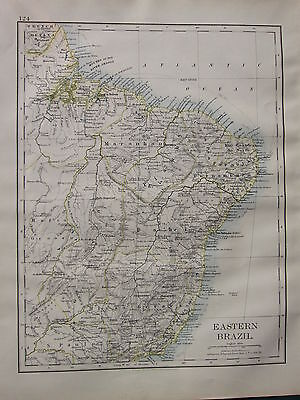 1900 VICTORIAN MAP ~ EASTERN BRAZIL MINAS GERAES RIVER AMAZON BAHIA SAN SALVADOR