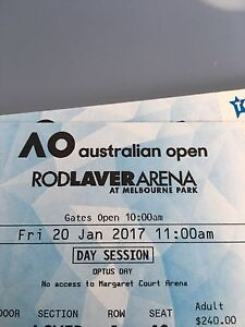 Australian Open tickets for sale - Friday 20th and Saturday 21st DAY St Ives Ku-ring-gai Area Preview