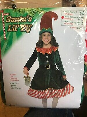 Santa's Little Elf Costume for Kids Girl's Size Medium (8-10) New