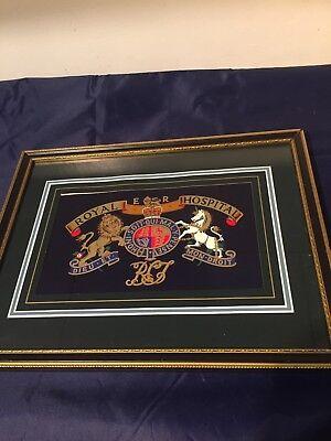 Vintage Framed Print Crest Royal Hospital Hand Crafted Regimental Replicas