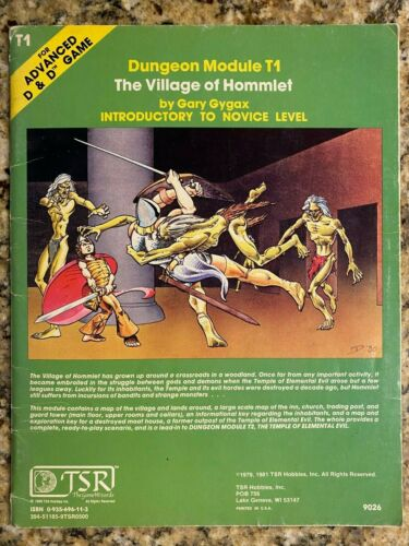 T1 THE VILLAGE OF HOMMLET / AD&D DUNGEONS & DRAGONS / TSR 9026