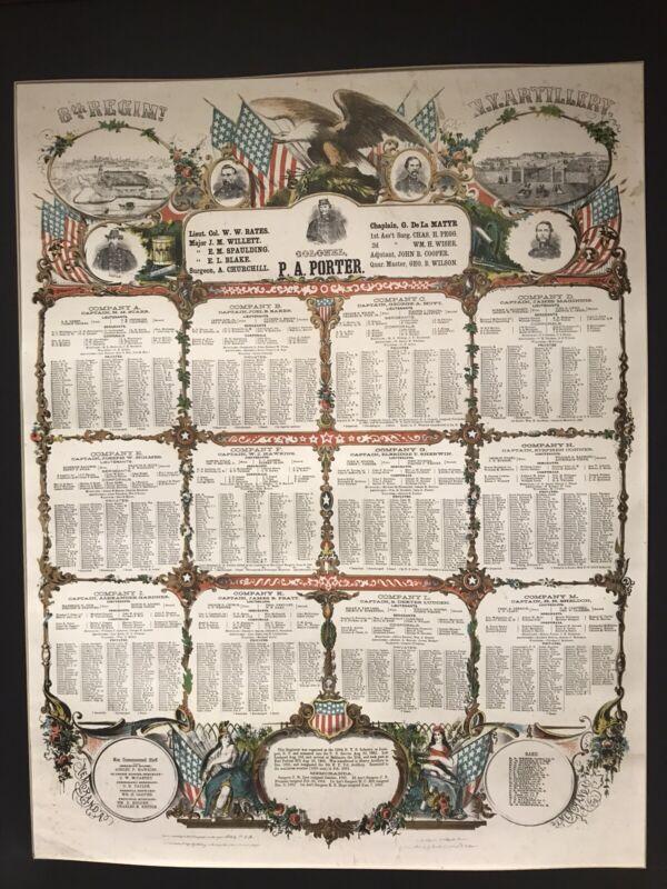 "USA ORIGINAL ANTIQUE CIVIL WAR SOLDIER MEMORIAL POSTER 1862-64 sz 22""x 28"""