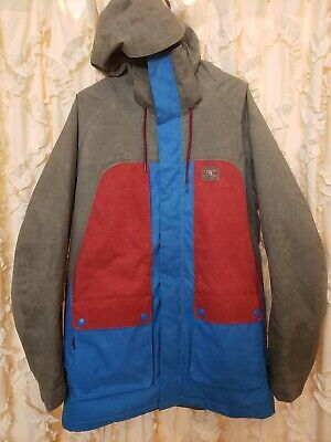 NWOT 2015 Men s DC Kingdom Insulated Snowboard Jacket Size Small Pewter  Blue Red 299d38025