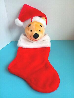 "Plush Winnie the Pooh w/Santa Hat 20"" X 8"" Hanging Red/White Christmas Stocking"