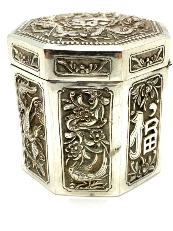 Antique Ghinese Asian Export Sterlong Silver Tea Caddy Box. Lot 49.