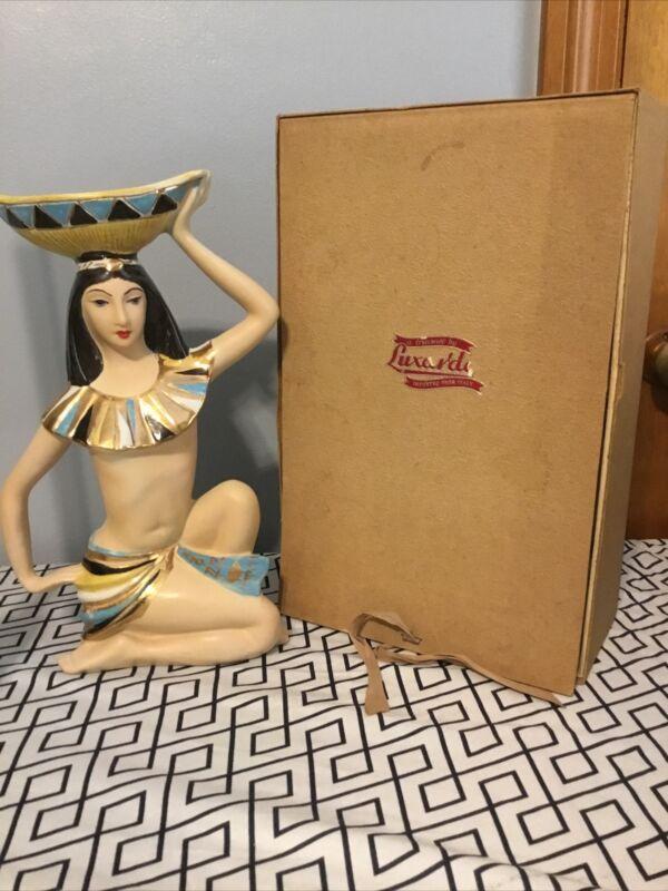 Vintage Luxardo Cherry Ardo Wine Decanter Egyptian Princess w/box, Rare 60's