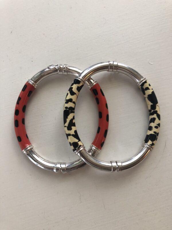Vintage Milor Sterling Silver Enamel Bracelets Animal Print And Ladybug Print