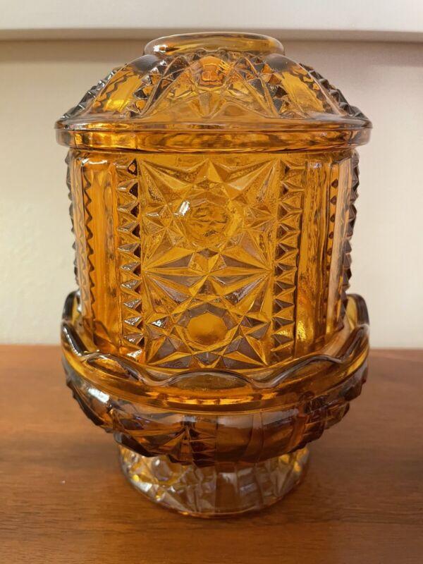 Vintage Indiana Amber Glass Stars Bars Pattern Fairy Lamp