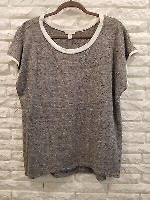 Eileen Fisher grey organic linen T-shirt, medium