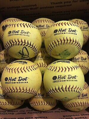 13 WORTH HOT DOT Slowpitch Softballs ASA .52 Core 300. NICE 1