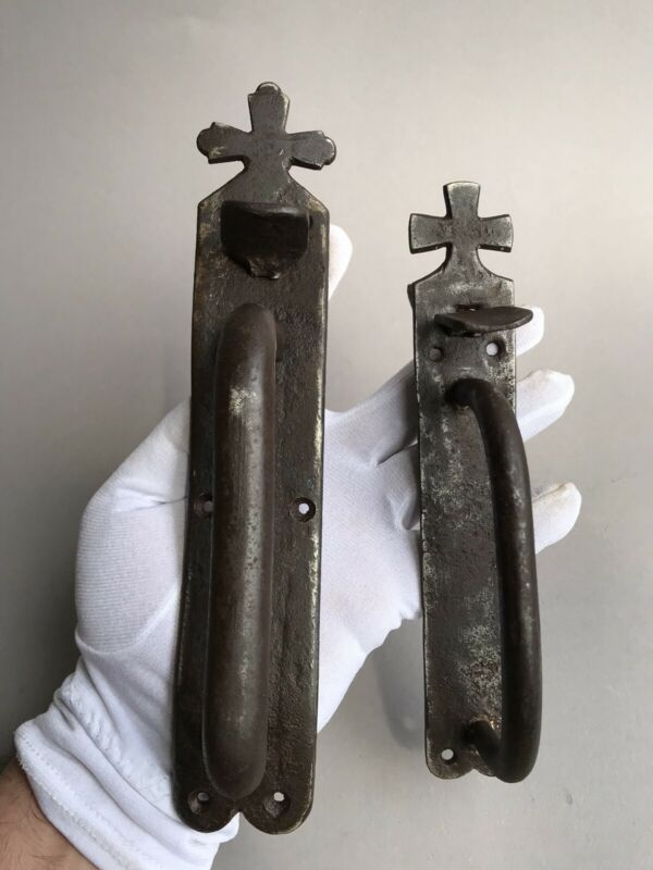 2 Door Handles Church Forged Iron Orthodox Christianity Rus 18-19cent.558 231gr