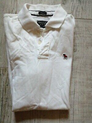 ABERCROMBIE & FITCH Men's SHORT Sleeved POLO Shirt Size MEDIUM White NEW