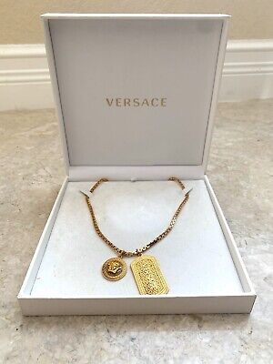 100% Authentic Gold Versace Medusa Necklace w/ Dog Tag