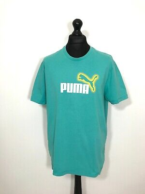 VIntage PUMA T-Shirt XL Turquoise Short Sleeve Big Logo Men's Casual Tee Top Vtg