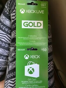 Xbox live card and gift card