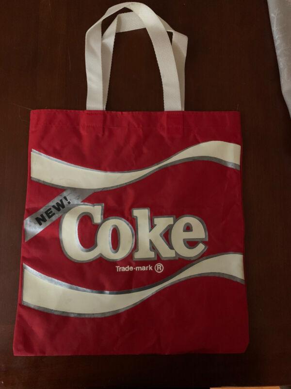 """""""NEW COKE""""  Coca Cola Canvas Tote Bag Red W White Handles"""