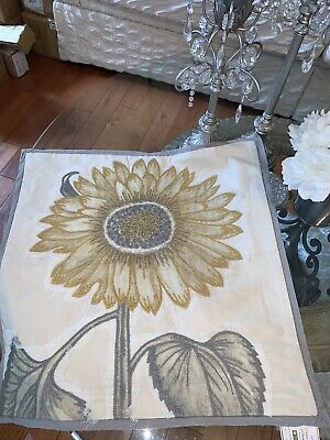 "Pottery Barn Spring Sunflower Pillow Cover 20"" Embroidered Applique Botanical"