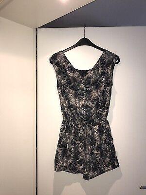 Beige Kleid Hose (Neu Sehr Schöner Damen Overall Hose Kleid In Schwarz Beige Schlangenmuster Gr 38)