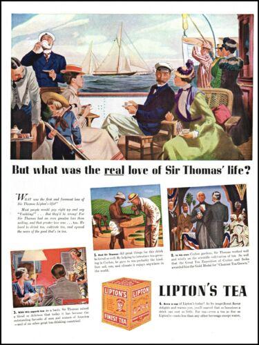 1938 Sir Thomas Lipton Tea social sail boats sailing vintage art print ad adl89