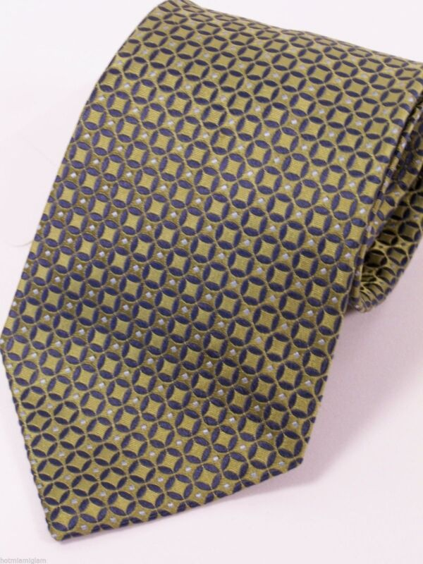 Roundtree & Yorke men 100% silk tie in olive green, dark denim blue &winter blue