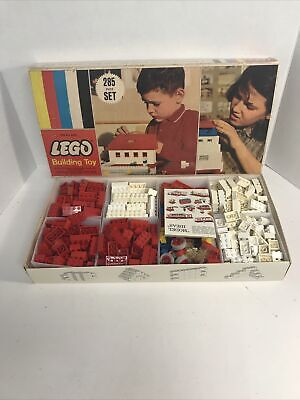 Vintage 60's LEGO #285 Medium Basic Set Original box Free Build Over 300 Pieces