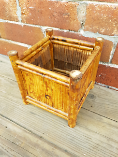 Vintage cane plant stand small