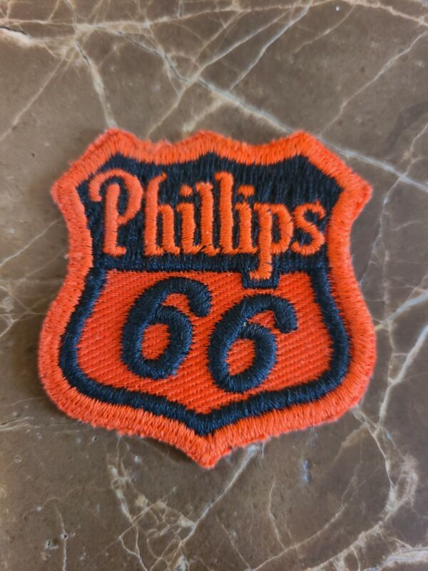 "~ Vintage Phillips 66 Orange & Black Sew On Patch 2 1/8"" x 2 1/4"" Gas Oil Fast ~"