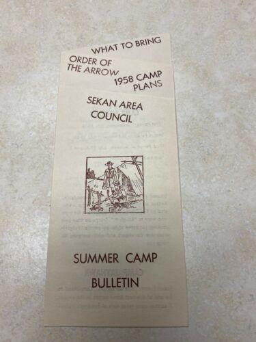 1958 SEKAN Area Council Summer Camp Bulletin