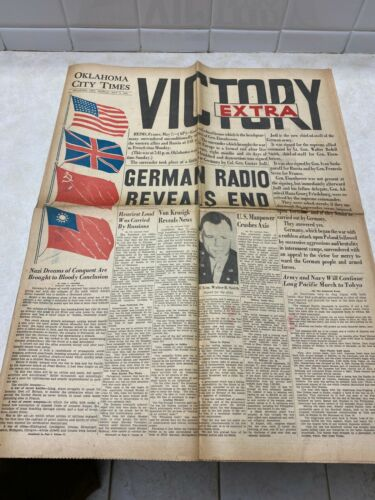 WW2 May 7, 1945 Oklahoma City Victory Extra Newspaper