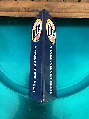 """Miller Lite Beer Tap Keg Handle Triangle Shape Wood 5"""" Used"""