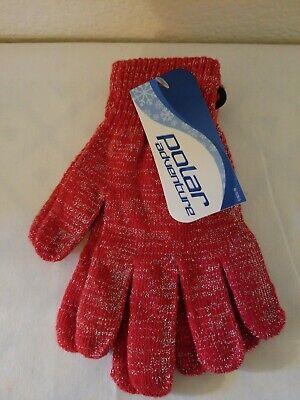 Girls Polar Adventure Red Glittery Winter Gloves One-size,  BNWT! - Girls Red Gloves