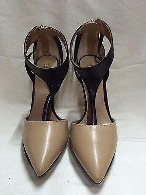 Justfab Womens Lila T Strap Pointed Toe Zip Back Faux Leather Pump