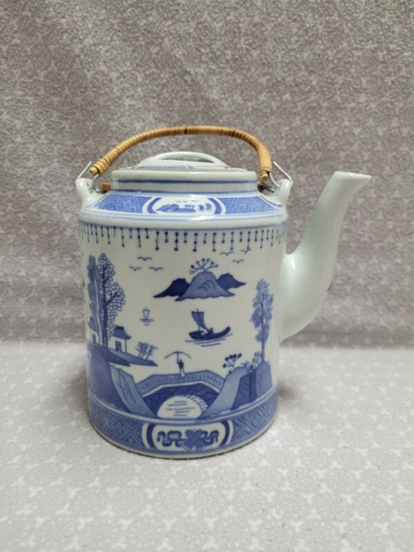 "Vintage China White & Blue Pattern Ceramic Teapot Lid Bamboo Handles 6"""