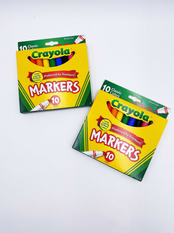 Crayola Broad Line Markers Assorted Classic Colors Box Of 10 (Lot of 2) (New)