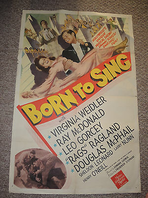 Vintage MOVIE POSTER 1942 MGM Musical   BORN TO SING  Original 1 sheet 27 x 41
