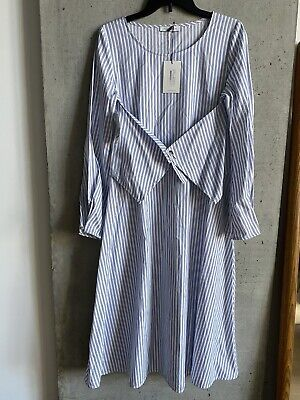 JW Anderson Cotton Striped Poplin Dress Size 10 NWT