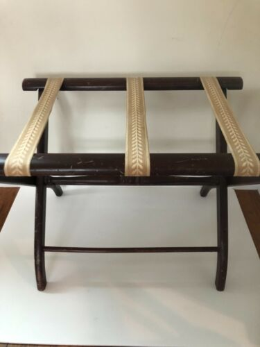 Vintage Wooden Folding Luggage Suitcase Rack Stand Tapestry