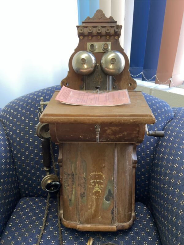 ANTIQUE LM ERICSSON 355 WALL PHONE FROM 1900 *BEAUTY!* -RARE- L.M. TEL