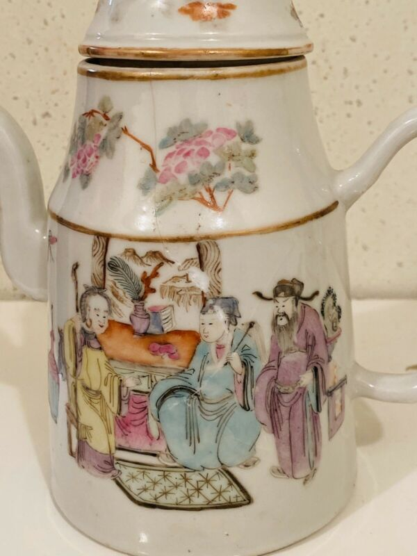 Chinese Export Porcelain Famille Rose Teapot Marked