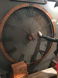 NEW XL 60 RESTORATION HAMMERED INDUSTRIAL COPPER SHEETING WALL CLOCK  ROMAN